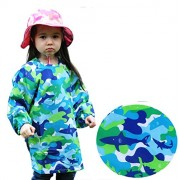 Kids Long Sleeve Fabric Art Smock, Size Adjustable (M: 3 5 Years, Blue Shark)