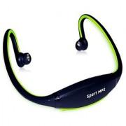 Sports Wireless Rechargeable Headset MP3 Player w/ TF / FM - Black + Grey Black + Green