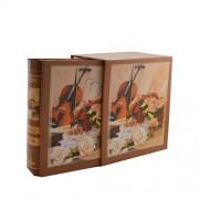 Set 2 albume model carte - vioara si flori pe coperti