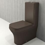 Toiletpot Set Staand Letta 65x36,5x90cm Keramiek Diepspoel Nano Coating EasyClean Rimfree Mat Bruin met Toiletbril