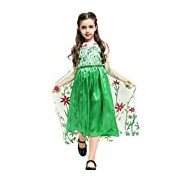 Girls Fancy Anna Frozen Princess Dress With Flowers and Sequins: Costume and Clothing for Parties, Weddings, Halloween and Dress Up: Ages 8-9 (Green)