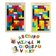 Baoblae Colorful ABC Alphabet Cards Animal Letters Puzzle Card Recognized Figure and Wooden Tetris Puzzle Toy Brain Teaser Games Educational Toys