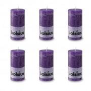 Bolsius класически свещи 130 x 68 мм, цвят виолетов - 6 броя