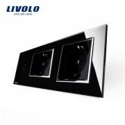 Intrerupator LIVOLO simplu cu touch si 2 prize din sticla, negru