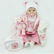 Bebe Reborn Silicone Baby Doll Sourire Bébé Enfants De Jouets 22 Pouce 55 Cm Belle Rose Bébé Ours Poupée