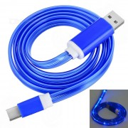 USB 2.0 to USB 3.1 Type C Data Sync & Charging Cable w/ Blue Flashing Light LED - Deep Blue (1m)