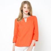 Rechte blouse met 3/4 mouwen in linnen