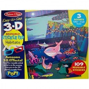 Melissa & Doug Easy-to-See 3-D Sticker Pad: Habitats -109 Reusable Stickers and 3-D Glasses