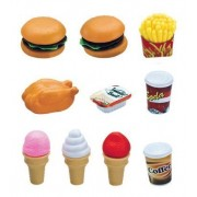 10 Piece Fast Food & Dessert Play Food Set for Kids - Burger, Fries, Ice Cream and More! by Cooking Playset