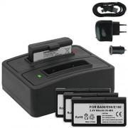 mtb 4x Baterías + Cargador doble (USB/Coche/Corriente) BA-90 para Sennheiser Audioport A1, E90, E180 (Set 180), HDE 1030 / HDI 91, 92... / RI 200, RI 300... v. lista
