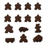 Brown Set of 14 Carcassonne Meeples (8 Meeples, 1 MegaMeeple, 1 Builder, 1 Pig, 1 Mayor, 1 Cart, 1 Barn)