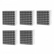 2mm 8 x 8 LED rojo modulos de matriz de puntos - negro + blanco (5 unidades)