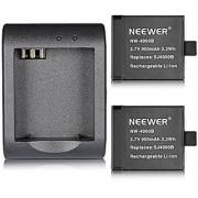 Neewer Battery Charger Holder with (2 Pack) 3.7V 900mAh Battery for SJ4000 SJ5000 SJ6000 SJ7000 of RioRand AFUNTA SJCAM DBPOWER QUMOX Tronsmart MeGoodo Tronsport and Neewer Action Camera