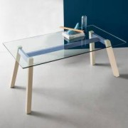 connubia T-Table Tisch L: 1600 B: 850 H: 760 mm, buche/himmelblau matt/klar CB/4781-RC 160_GTR_P100_P02