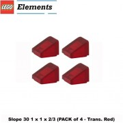 Lego Parts: Slope 30 1 x 1 x 2/3 (PACK of 4 - Transparent Red)