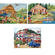 Bits and Pieces - Set of Three (3) 300 Piece Jigsaw Puzzles for Adults - Americana Collection - 300 pc Jigsaws by Artist Kay Lamb Shannon
