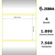 Zebra Z-Perform 1000T - Etichette in carta normale (vellum) di colore bianco, formato 102 x 76 mm.