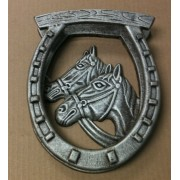 Cast iron antique silver double horse headed door knocker