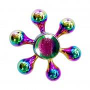 Fidget Spinner Toy Stress Reducer Anti-Anxiety Toy pour enfants et adultes, 3 minutes de temps de rotation, acier R188 Bearing Bearing + Zinc Alloy Material, Colorful Six Drops Feuilles