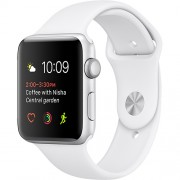 Watch 2 Sport Aluminiu Argintiu 38MM Si Curea Silicon Alb Apple