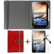 """Hello Zone Exclusive 360° Rotating 7"""" Inch Flip Case Cover + Free Tempered Glass for iBall Slide Snap 4G2 Tablet -Red"""