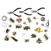 Kurtzy® 1000 piece deluxe large jewellery making starter kit- pliers, findings, beads, cord, tiger tail, bronze-plated accessories