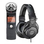 Zoom H1 Ultra-Portable Digital Audio Recorder - Bundle With Audio-Technica ATH-M30x Professional Monitor Headphones