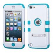 Funda Protector Triple Layer Apple Ipod Touch 5G / 6G Blanco -2 / Aqua c/pie metalico