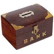 Craft Art India Brown Handmade Wooden Rectangular Money Bank / Piggy Bank / Coin Box