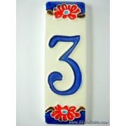 Numero civico ceramica con fiore nf3