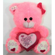 Pink Puchi Girl Teddy Bear with a Bow and I Love You Heart