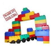 Kids Adventure Jumbo Blocks With Wheels Train Set 60-Piece