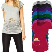 """Pocket baby pee a boo"" print maternity shirt gravida top pregnancy clothing cheap Tees Casual plus size XXL Free shipping"