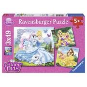 Ravensburger 09346 - Disney Princess Belle: Cenerentola e Ariel Puzzle, 3 x 49 Pezzi
