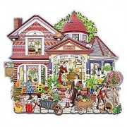 Bits and Pieces-Roses Blossom Cottage - 300 Piece Shaped Jigsaw Puzzle
