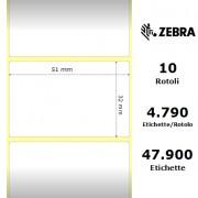 Zebra Z-Perform 1000D - Etichette in carta termica di colore bianco, formato 51 x 32 mm.