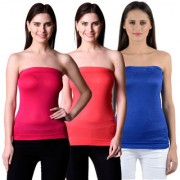 NumBrave Womens Pink Red Blue Tube Top (Combo of 3)