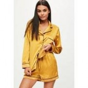 Missguided Gold Satin Piping Detail Pyjama Short Set, Gold