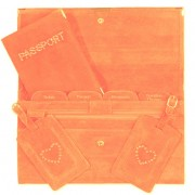 Travel Documents Set - Orange Suede with Bling