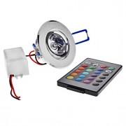 3W Lâmpada de Teto Encaixe Embutido 1 LED de Alta Potência 180 lm RGB Controle Remoto AC 85-265 V