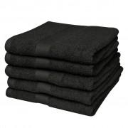 vidaXL Toalhas duche 100% algodão 500 gsm 70 x 140 cm preto 5 pçs