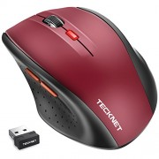 TeckNet® M002 2.4G Nano Cordless Optical Mouse - 18 Month Battery Life - Battery Level Indicator - 2.4 GHz -3 Adjustable DPI Levels: 2000/1500/1000dPi - Nano USB wireless receiver - Red