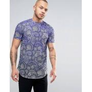 Devote Синяя футболка с эффектом деграде и принтом пейсли Devote - Синий