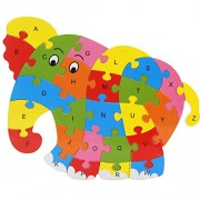 Magideal Set of Wooden Elephant Alphabet Puzzle Brain Teaser Toy Kids Alphabets Color Educational Gift Multicolor