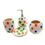 Set pentru baie ceramica colorat verde albastru portocaliu