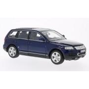 VW Touareg, azul oscuro, 2002, Modelo de Auto, modello completo, Welly 1:24