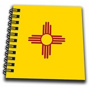 3dRose db_158391_3 Flag Of New Mexico Us American United State Of America Use Red Sun Symbol Of The Zia on Yellow Mini Notepad 4 x 4