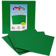 Brick Building Base Plates By SCS - Large 10 x10 Green Baseplates (4 Pack) - Tight Fit with all major brick sets