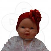 Traka za kosu Mina, crvena sa ružom