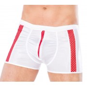 Andalea Zipper & Fishnet Stripe Boxer Brief Underwear White/Red MC-9056